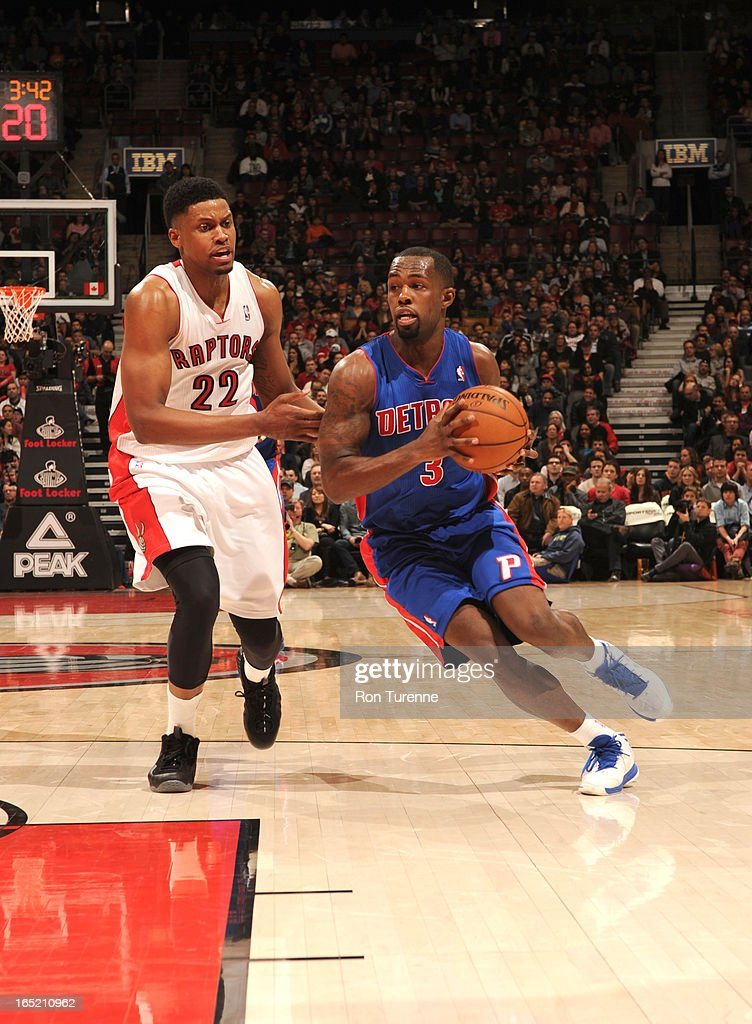 <a gi-track='captionPersonalityLinkClicked' href=/galleries/search?phrase=Rodney+Stuckey&family=editorial&specificpeople=4375687 ng-click='$event.stopPropagation()'>Rodney Stuckey</a> #3 of the Detroit Pistons drives against <a gi-track='captionPersonalityLinkClicked' href=/galleries/search?phrase=Rudy+Gay&family=editorial&specificpeople=236066 ng-click='$event.stopPropagation()'>Rudy Gay</a> #22 of the Toronto Raptors during the game between the Toronto Raptors and the Detroit Pistons on April 1, 2013 at the Air Canada Centre in Toronto, Ontario, Canada.
