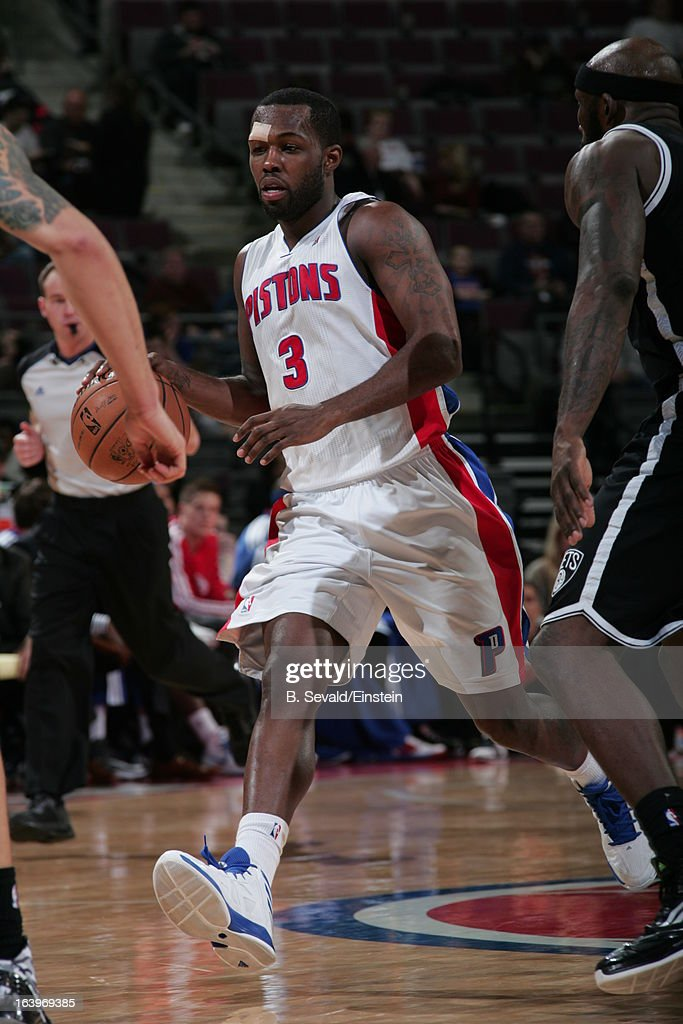 Rodney Stuckey #3 of the Detroit Pistons drives against the Brooklyn Nets on March 18, 2013 at The Palace of Auburn Hills in Auburn Hills, Michigan.