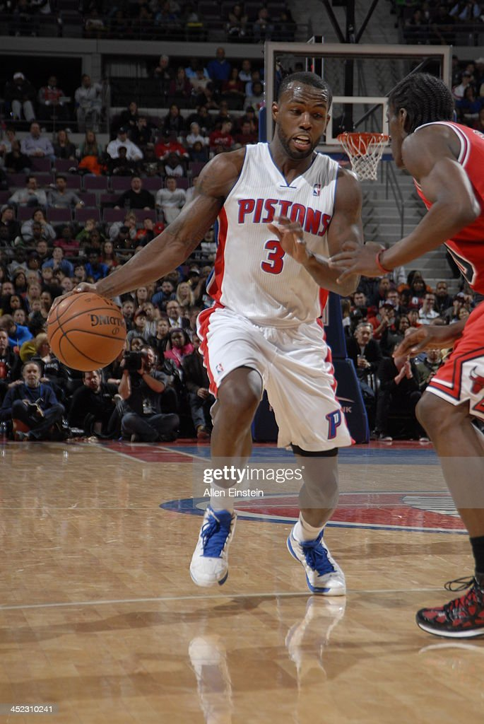 Rodney Stuckey #3 of the Detroit Pistons drives against the Chicago Bulls on November 27, 2013 at The Palace of Auburn Hills in Auburn Hills, Michigan.