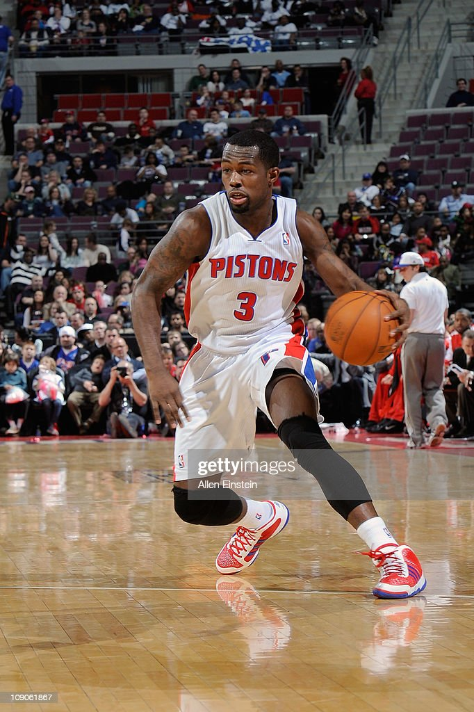 <a gi-track='captionPersonalityLinkClicked' href=/galleries/search?phrase=Rodney+Stuckey&family=editorial&specificpeople=4375687 ng-click='$event.stopPropagation()'>Rodney Stuckey</a> #3 of the Detroit Pistons drives against the Portland Trail Blazers on February 13, 2011 at The Palace of Auburn Hills in Auburn Hills, Michigan.