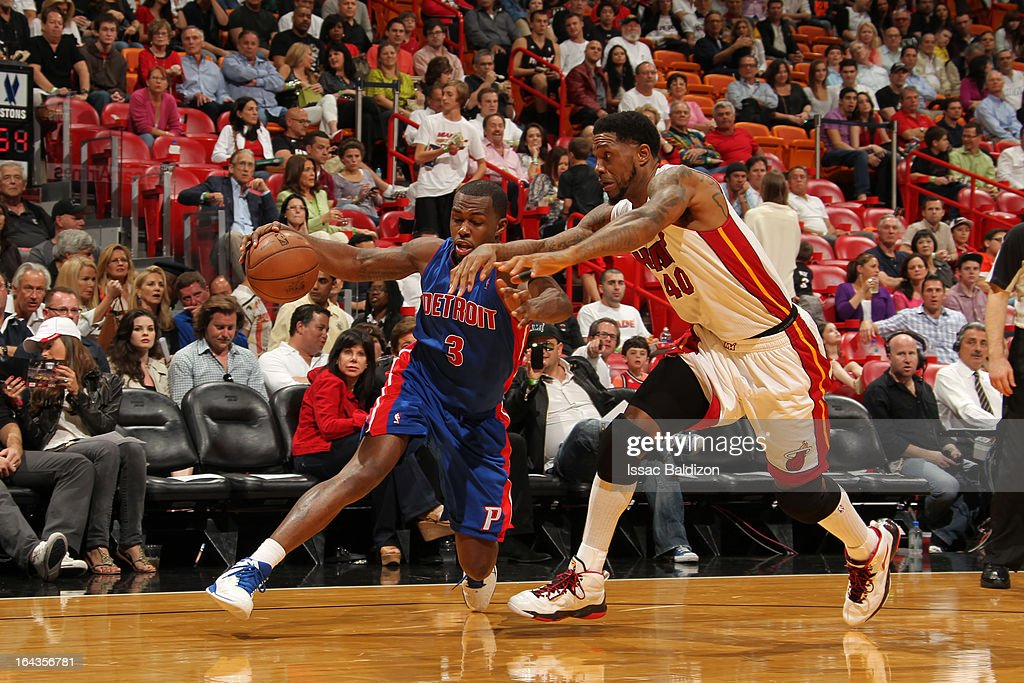 <a gi-track='captionPersonalityLinkClicked' href=/galleries/search?phrase=Rodney+Stuckey&family=editorial&specificpeople=4375687 ng-click='$event.stopPropagation()'>Rodney Stuckey</a> #3 of the Detroit Pistons drives against <a gi-track='captionPersonalityLinkClicked' href=/galleries/search?phrase=Udonis+Haslem&family=editorial&specificpeople=201748 ng-click='$event.stopPropagation()'>Udonis Haslem</a> #40 of the Miami Heat on March 22, 2013 at American Airlines Arena in Miami, Florida.