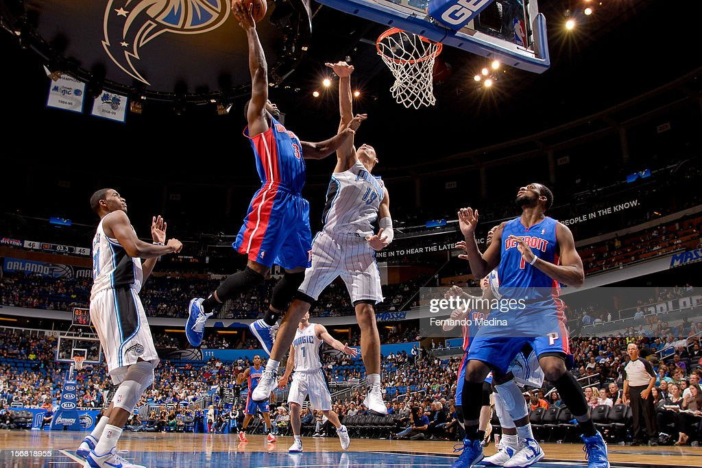 Rodney Stuckey #3 of the Detroit Pistons drives to the basket against Gustavo Ayon #19 of the Orlando Magic on November 21, 2012 at Amway Center in Orlando, Florida.