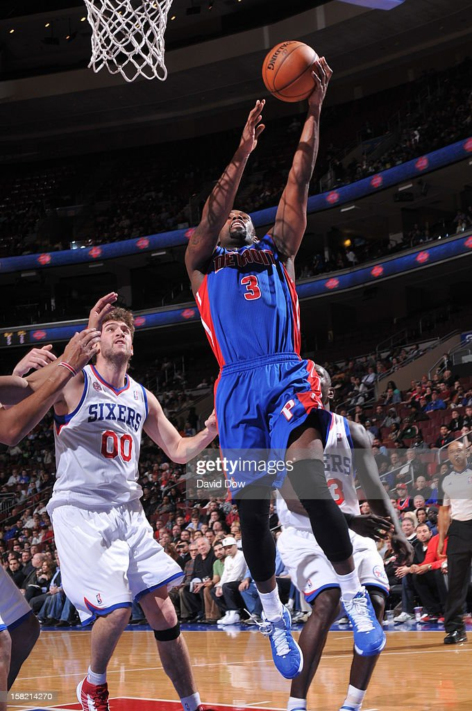 <a gi-track='captionPersonalityLinkClicked' href=/galleries/search?phrase=Rodney+Stuckey&family=editorial&specificpeople=4375687 ng-click='$event.stopPropagation()'>Rodney Stuckey</a> #3 of the Detroit Pistons drives to the basket against the Philadelphia 76ers during the game at the Wells Fargo Center on December 10, 2012 in Philadelphia, Pennsylvania.