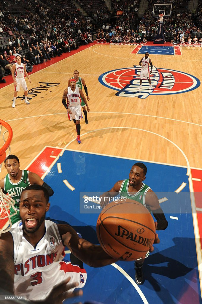 Rodney Stuckey #3 of the Detroit Pistons drives to the basket against the Boston Celtics on November 18, 2012 at The Palace of Auburn Hills in Auburn Hills, Michigan.