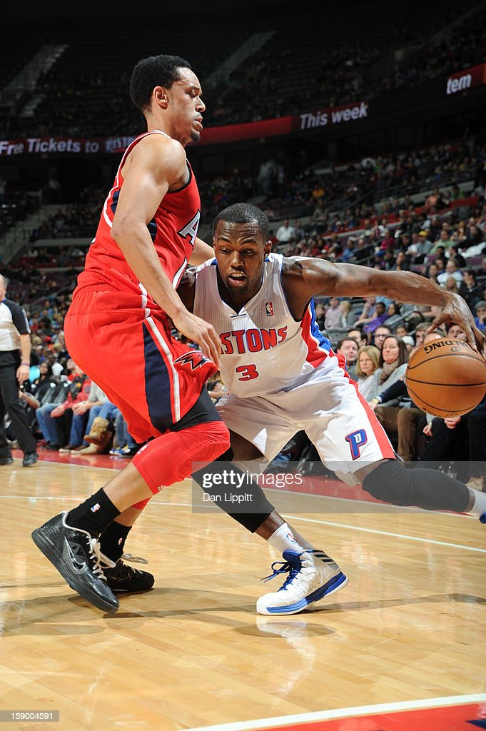 <a gi-track='captionPersonalityLinkClicked' href=/galleries/search?phrase=Rodney+Stuckey&family=editorial&specificpeople=4375687 ng-click='$event.stopPropagation()'>Rodney Stuckey</a> #3 of the Detroit Pistons drives to the basket against John Jenkins #12 of the Atlanta Hawks on January 4, 2013 at The Palace of Auburn Hills in Auburn Hills, Michigan.