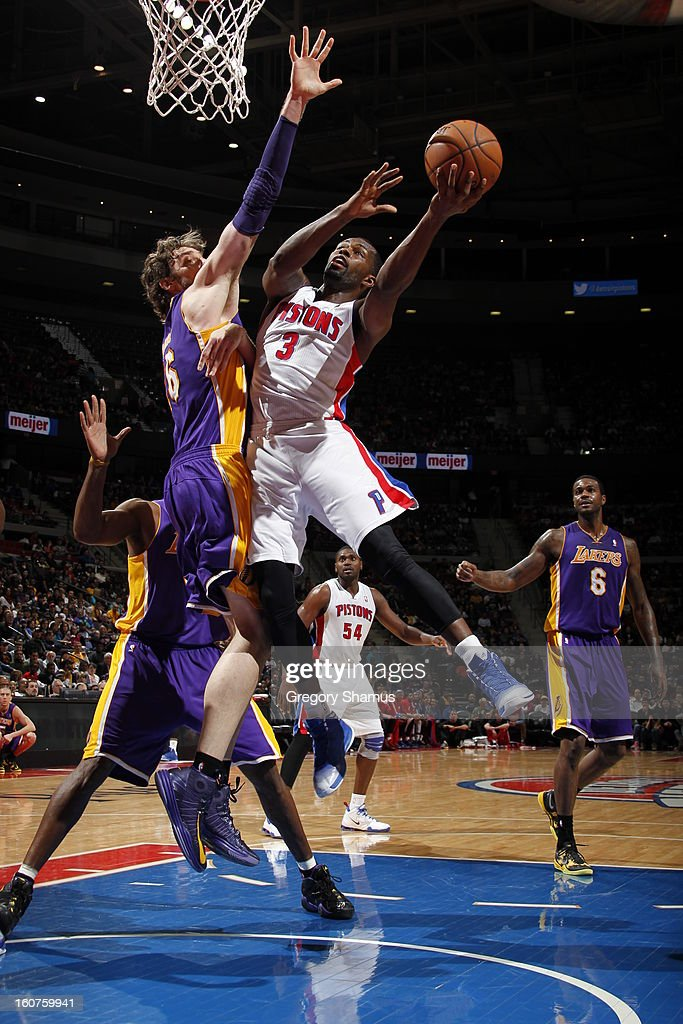 Rodney Stuckey #3 of the Detroit Pistons drives to the basket against Pau Gasol #16 of the Los Angeles Lakers on February 3, 2013 at The Palace of Auburn Hills in Auburn Hills, Michigan.