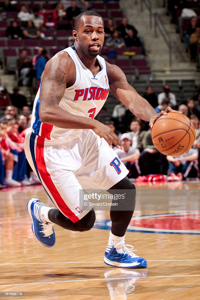 Rodney Stuckey #3 of the Detroit Pistons drives to the basket against the Washington Wizards on February 13, 2013 at The Palace of Auburn Hills in Auburn Hills, Michigan.