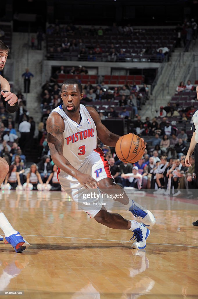 Rodney Stuckey #3 of the Detroit Pistons drives to the basket against the Minnesota Timberwolves during the game on March 26, 2013 at The Palace of Auburn Hills in Auburn Hills, Michigan.