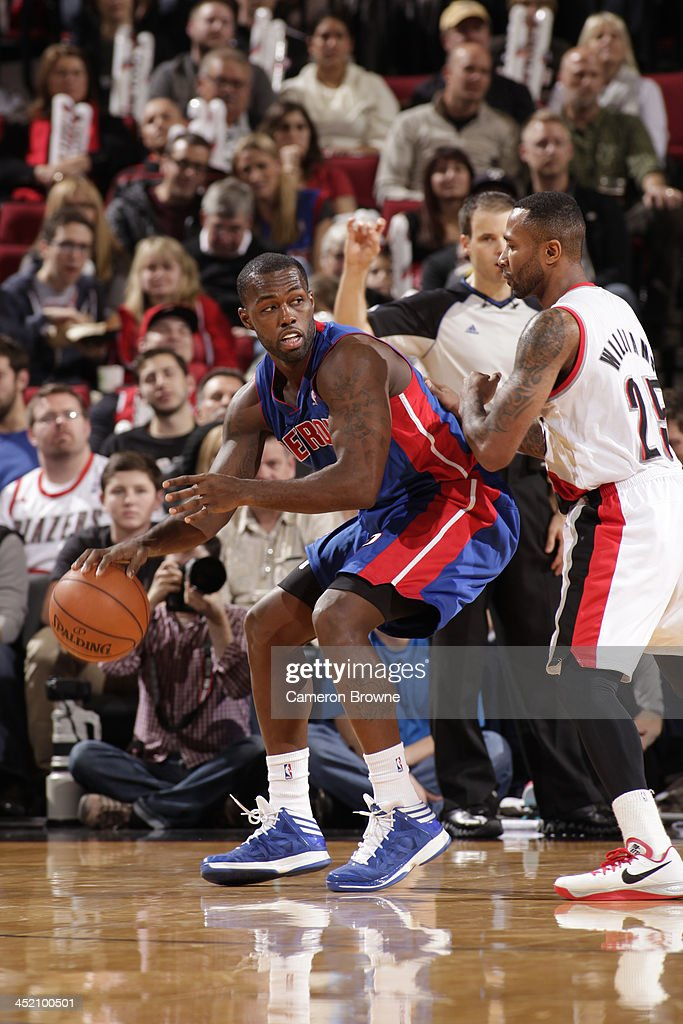 <a gi-track='captionPersonalityLinkClicked' href=/galleries/search?phrase=Rodney+Stuckey&family=editorial&specificpeople=4375687 ng-click='$event.stopPropagation()'>Rodney Stuckey</a> #3 of the Detroit Pistons drives to the basket against the Portland Trail Blazers on November 11, 2013 at the Moda Center Arena in Portland, Oregon.