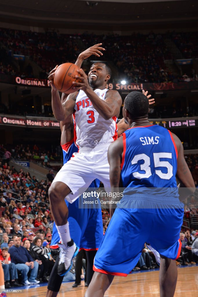 <a gi-track='captionPersonalityLinkClicked' href=/galleries/search?phrase=Rodney+Stuckey&family=editorial&specificpeople=4375687 ng-click='$event.stopPropagation()'>Rodney Stuckey</a> #3 of the Detroit Pistons drives to the basket against the Philadelphia 76ers at the Wells Fargo Center on March 29, 2014 in Philadelphia, Pennsylvania.