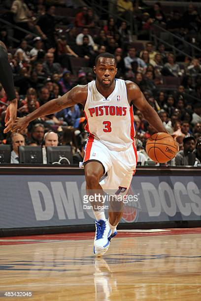 Rodney Stuckey of the Detroit Pistons drives to the basket during the game against the New York Knicks on November 19 2013 at The Palace of Auburn...