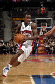 Rodney Stuckey of the Detroit Pistons drives to the basket during the game against the Chicago Bulls at the Palace of Auburn Hills on December 31...