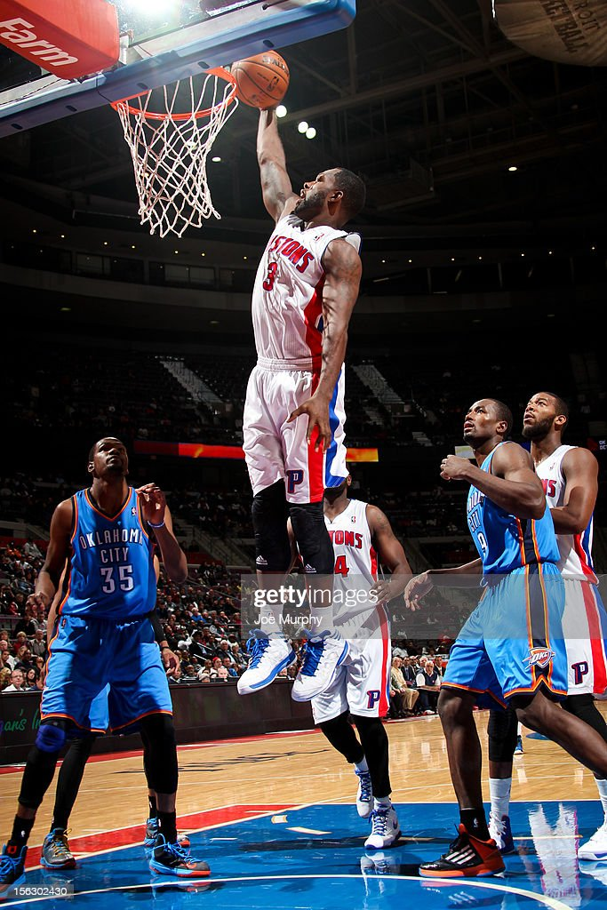 <a gi-track='captionPersonalityLinkClicked' href=/galleries/search?phrase=Rodney+Stuckey&family=editorial&specificpeople=4375687 ng-click='$event.stopPropagation()'>Rodney Stuckey</a> #3 of the Detroit Pistons dunks against the Oklahoma City Thunder on November 12, 2012 at The Palace of Auburn Hills in Auburn Hills, Michigan.