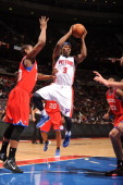 Rodney Stuckey of the Detroit Pistons goes for a jump shot during the game between the Detroit Pistons and the Philadelphia 76ers on April 26 2012 at...