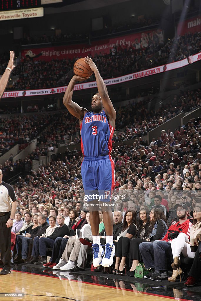 Rodney Stuckey #3 of the Detroit Pistons goes for a jump shot during the game between the Detroit Pistons and the Portland Trail Blazers on March 16, 2013 at the Rose Garden Arena in Portland, Oregon.