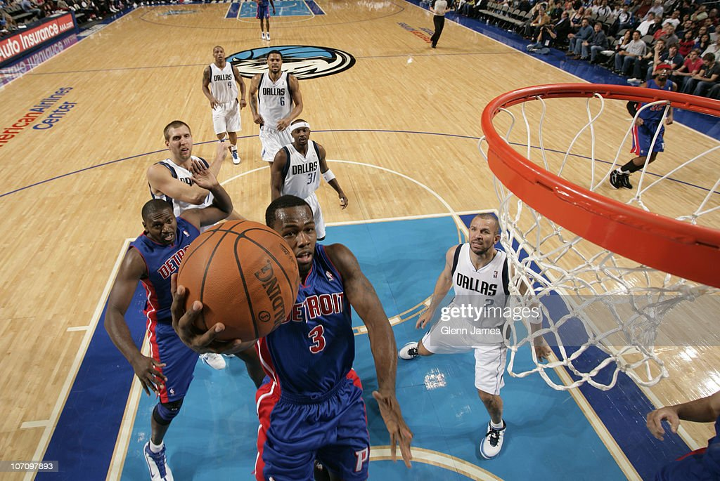 <a gi-track='captionPersonalityLinkClicked' href=/galleries/search?phrase=Rodney+Stuckey&family=editorial&specificpeople=4375687 ng-click='$event.stopPropagation()'>Rodney Stuckey</a> #3 of the Detroit Pistons goes in for the layup against <a gi-track='captionPersonalityLinkClicked' href=/galleries/search?phrase=Jason+Kidd&family=editorial&specificpeople=201560 ng-click='$event.stopPropagation()'>Jason Kidd</a> #2 of the Dallas Mavericks during a game on November 23, 2010 at the American Airlines Center in Dallas, Texas.