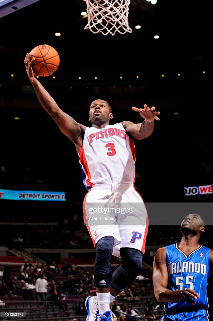 <a gi-track='captionPersonalityLinkClicked' href=/galleries/search?phrase=Rodney+Stuckey&family=editorial&specificpeople=4375687 ng-click='$event.stopPropagation()'>Rodney Stuckey</a> #3 of the Detroit Pistons goes to the basket against the Orlando Magic during a pre-season game on October 16, 2012 at The Palace of Auburn Hills in Auburn Hills, Michigan.