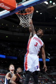 Rodney Stuckey of the Detroit Pistons goes to the basket during the game against the Portland Trail Blazers on January 21 2012 at The Palace of...
