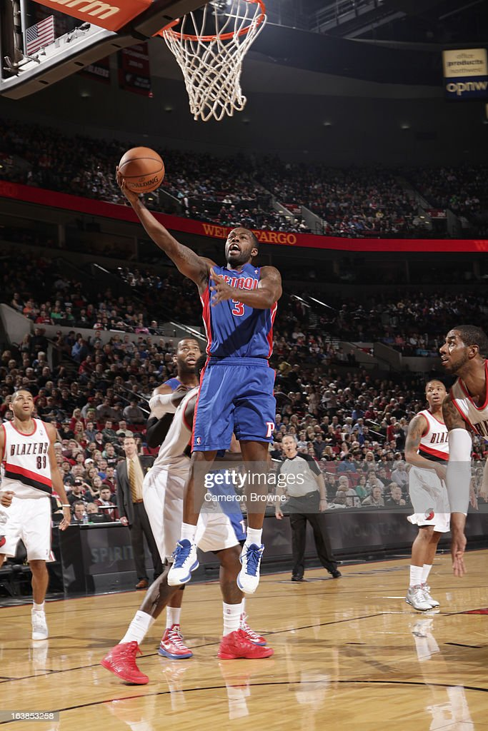 Rodney Stuckey #3 of the Detroit Pistons goes to the basket during the game between the Detroit Pistons and the Portland Trail Blazers on March 16, 2013 at the Rose Garden Arena in Portland, Oregon.