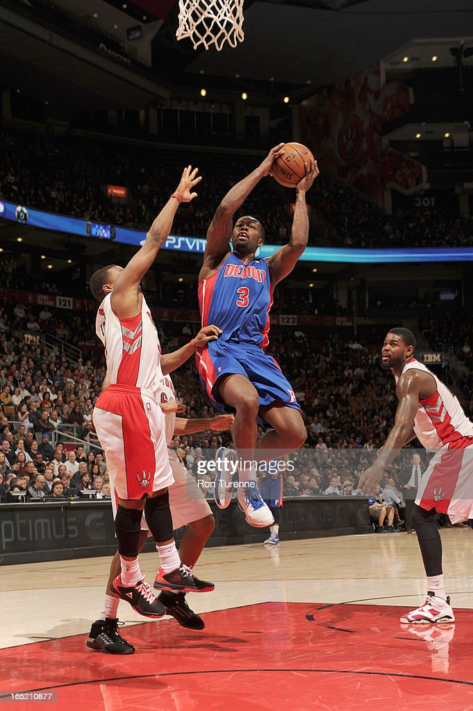 <a gi-track='captionPersonalityLinkClicked' href=/galleries/search?phrase=Rodney+Stuckey&family=editorial&specificpeople=4375687 ng-click='$event.stopPropagation()'>Rodney Stuckey</a> #3 of the Detroit Pistons goes to the basket during the game between the Toronto Raptors and the Detroit Pistons on April 1, 2013 at the Air Canada Centre in Toronto, Ontario, Canada.
