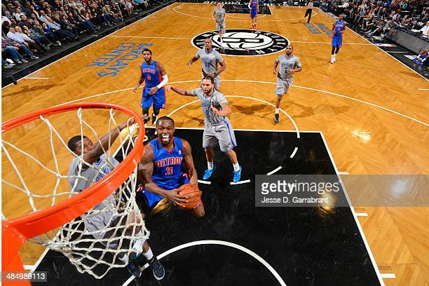 Rodney Stuckey of the Detroit Pistons goes up for a shot against the Brooklyn Nets on April 4 2014 at the Barclays Center in Brooklyn New York NOTE...