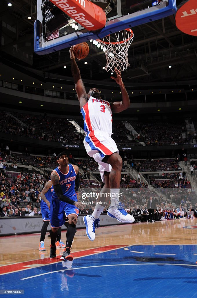 <a gi-track='captionPersonalityLinkClicked' href=/galleries/search?phrase=Rodney+Stuckey&family=editorial&specificpeople=4375687 ng-click='$event.stopPropagation()'>Rodney Stuckey</a> #3 of the Detroit Pistons goes up for a shot during a game against the New York Knicks on March 3, 2014 at The Palace of Auburn Hills in Auburn Hills, Michigan.