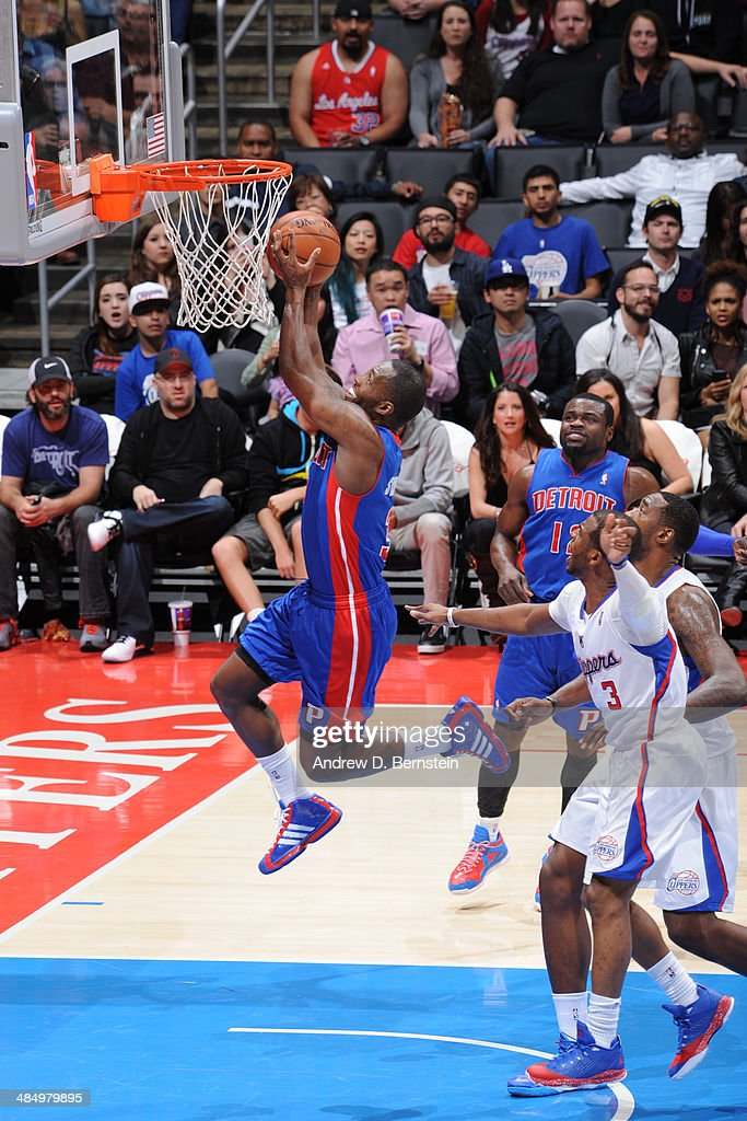 <a gi-track='captionPersonalityLinkClicked' href=/galleries/search?phrase=Rodney+Stuckey&family=editorial&specificpeople=4375687 ng-click='$event.stopPropagation()'>Rodney Stuckey</a> #3 of the Detroit Pistons goes up for the layup against the Los Angeles Clippers at STAPLES Center on March 22, 2014 in Los Angeles, California.