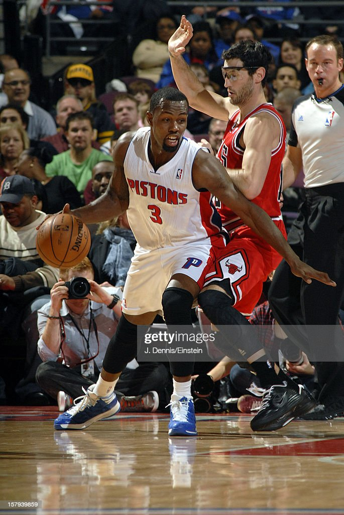 <a gi-track='captionPersonalityLinkClicked' href=/galleries/search?phrase=Rodney+Stuckey&family=editorial&specificpeople=4375687 ng-click='$event.stopPropagation()'>Rodney Stuckey</a> #3 of the Detroit Pistons handles the ball against <a gi-track='captionPersonalityLinkClicked' href=/galleries/search?phrase=Kirk+Hinrich&family=editorial&specificpeople=201629 ng-click='$event.stopPropagation()'>Kirk Hinrich</a> #12 of the Chicago Bulls on December 7, 2012 at The Palace of Auburn Hills in Auburn Hills, Michigan.