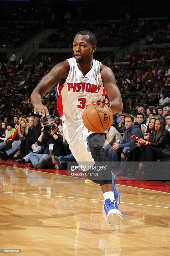 <a gi-track='captionPersonalityLinkClicked' href=/galleries/search?phrase=Rodney+Stuckey&family=editorial&specificpeople=4375687 ng-click='$event.stopPropagation()'>Rodney Stuckey</a> #3 of the Detroit Pistons handles the ball against the Los Angeles Lakers on February 3, 2013 at The Palace of Auburn Hills in Auburn Hills, Michigan.