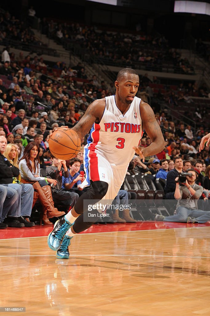 <a gi-track='captionPersonalityLinkClicked' href=/galleries/search?phrase=Rodney+Stuckey&family=editorial&specificpeople=4375687 ng-click='$event.stopPropagation()'>Rodney Stuckey</a> #3 of the Detroit Pistons handles the ball against the San Antonio Spurs on February 8, 2013 at The Palace of Auburn Hills in Auburn Hills, Michigan.