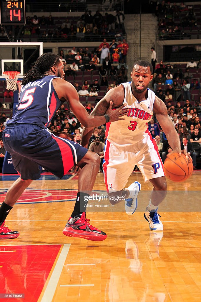 <a gi-track='captionPersonalityLinkClicked' href=/galleries/search?phrase=Rodney+Stuckey&family=editorial&specificpeople=4375687 ng-click='$event.stopPropagation()'>Rodney Stuckey</a> #3 of the Detroit Pistons handles the ball against the Atlanta Hawks on November 22, 2013 at The Palace of Auburn Hills in Auburn Hills, Michigan.