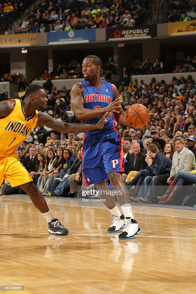 <a gi-track='captionPersonalityLinkClicked' href=/galleries/search?phrase=Rodney+Stuckey&family=editorial&specificpeople=4375687 ng-click='$event.stopPropagation()'>Rodney Stuckey</a> #3 of the Detroit Pistons handles the ball against the Indiana Pacers at Bankers Life Fieldhouse on April 2, 2014 in Indianapolis, Indiana.