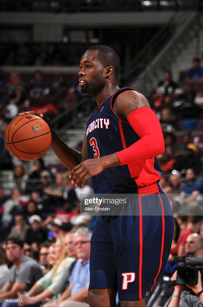 Rodney Stuckey #3 of the Detroit Pistons handles the ball against the Toronto Raptors on April 13, 2014 at The Palace of Auburn Hills in Auburn Hills, Michigan.