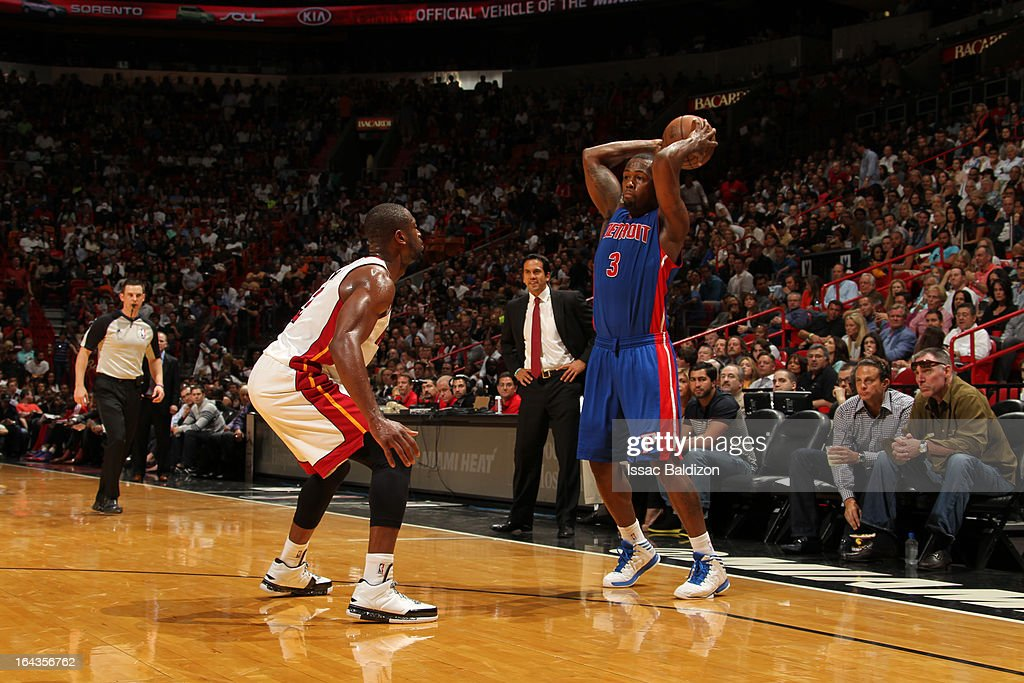 <a gi-track='captionPersonalityLinkClicked' href=/galleries/search?phrase=Rodney+Stuckey&family=editorial&specificpeople=4375687 ng-click='$event.stopPropagation()'>Rodney Stuckey</a> #3 of the Detroit Pistons looks to pass the ball against <a gi-track='captionPersonalityLinkClicked' href=/galleries/search?phrase=Dwyane+Wade&family=editorial&specificpeople=201481 ng-click='$event.stopPropagation()'>Dwyane Wade</a> #3 of the Miami Heat on March 22, 2013 at American Airlines Arena in Miami, Florida.
