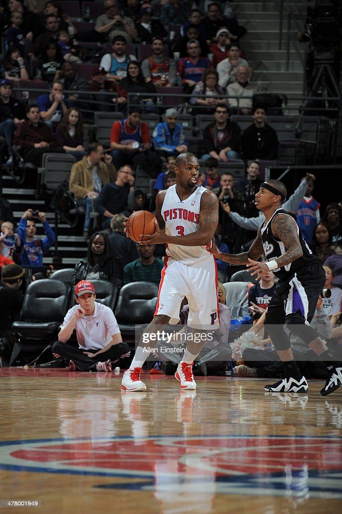 <a gi-track='captionPersonalityLinkClicked' href=/galleries/search?phrase=Rodney+Stuckey&family=editorial&specificpeople=4375687 ng-click='$event.stopPropagation()'>Rodney Stuckey</a> #3 of the Detroit Pistons looks to pass the ball against the Sacramento Kings during the game on March 11, 2014 at The Palace of Auburn Hills in Auburn Hills, Michigan.