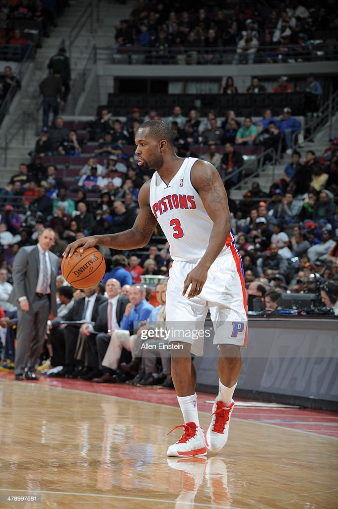 <a gi-track='captionPersonalityLinkClicked' href=/galleries/search?phrase=Rodney+Stuckey&family=editorial&specificpeople=4375687 ng-click='$event.stopPropagation()'>Rodney Stuckey</a> #3 of the Detroit Pistons looks to pass the ball against the Indiana Pacers during the game on March 15, 2014 at The Palace of Auburn Hills in Auburn Hills, Michigan.