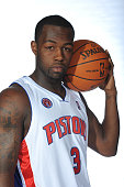 Rodney Stuckey of the Detroit Pistons poses for a portrait during 2009 NBA Media Day on September 28 2009 at the Palace of Auburn Hills in Auburn...