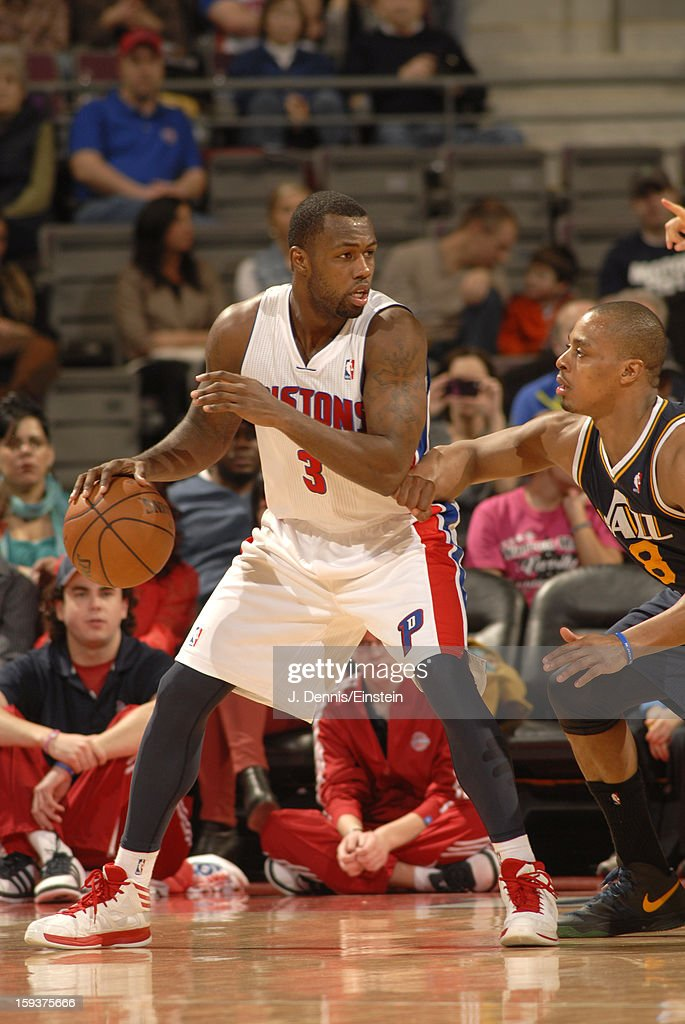 <a gi-track='captionPersonalityLinkClicked' href=/galleries/search?phrase=Rodney+Stuckey&family=editorial&specificpeople=4375687 ng-click='$event.stopPropagation()'>Rodney Stuckey</a> #3 of the Detroit Pistons posts up against <a gi-track='captionPersonalityLinkClicked' href=/galleries/search?phrase=Randy+Foye&family=editorial&specificpeople=240185 ng-click='$event.stopPropagation()'>Randy Foye</a> #8 of the Utah Jazz on January 12, 2013 at The Palace of Auburn Hills in Auburn Hills, Michigan.