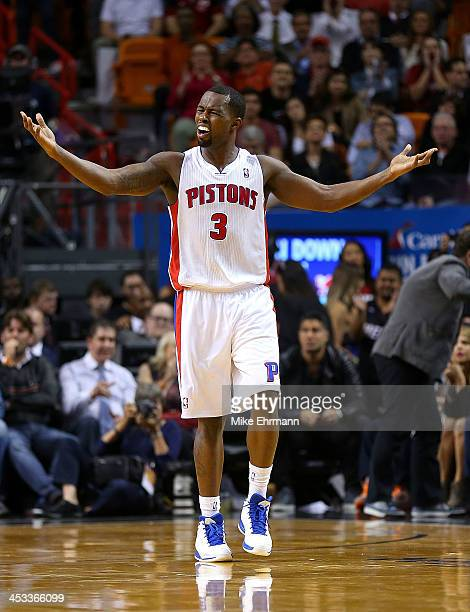 Rodney Stuckey of the Detroit Pistons reacts to a play during a game against the Miami Heat at American Airlines Arena on December 3 2013 in Miami...