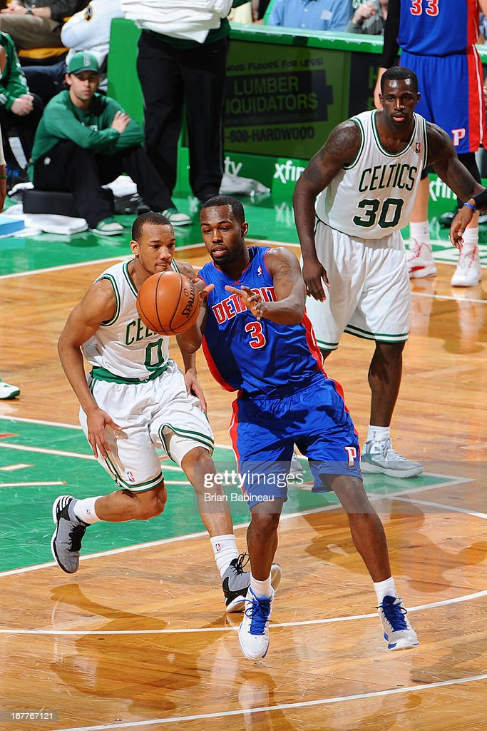 Rodney Stuckey #3 of the Detroit Pistons receives a pass against Avery Bradley #0 of the Boston Celtics on April 3, 2013 at the TD Garden in Boston, Massachusetts.