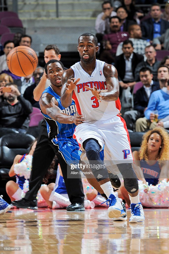 <a gi-track='captionPersonalityLinkClicked' href=/galleries/search?phrase=Rodney+Stuckey&family=editorial&specificpeople=4375687 ng-click='$event.stopPropagation()'>Rodney Stuckey</a> #3 of the Detroit Pistons receives a pass against the Orlando Magic during a pre-season game on October 16, 2012 at The Palace of Auburn Hills in Auburn Hills, Michigan.