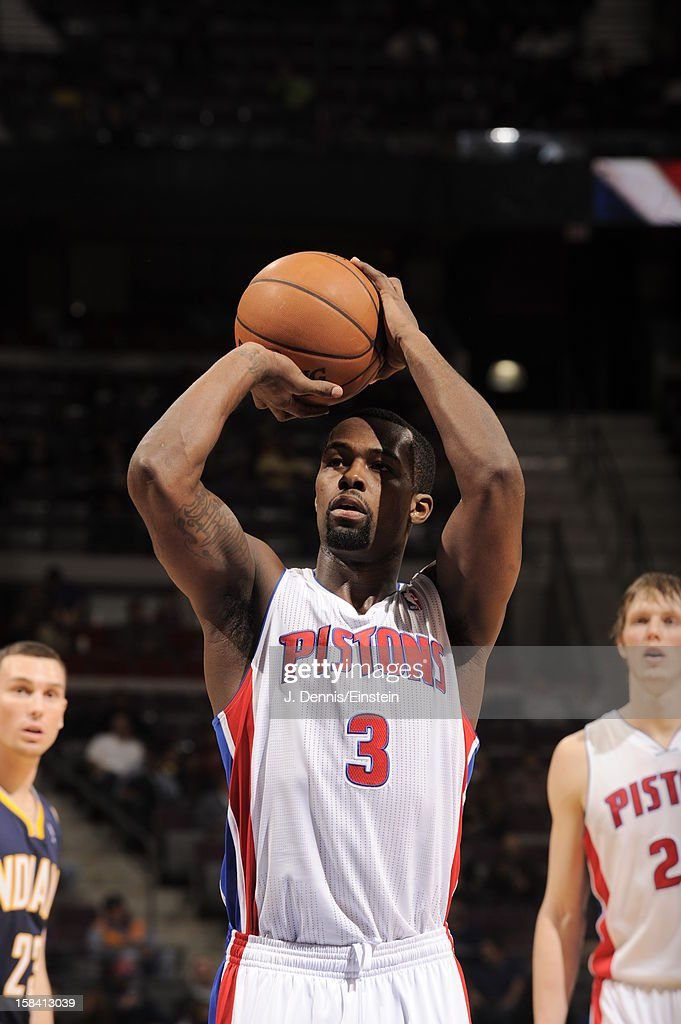 <a gi-track='captionPersonalityLinkClicked' href=/galleries/search?phrase=Rodney+Stuckey&family=editorial&specificpeople=4375687 ng-click='$event.stopPropagation()'>Rodney Stuckey</a> #3 of the Detroit Pistons shoots a foul shot against the Indiana Pacers during the game on December 15, 2012 at The Palace of Auburn Hills in Auburn Hills, Michigan.