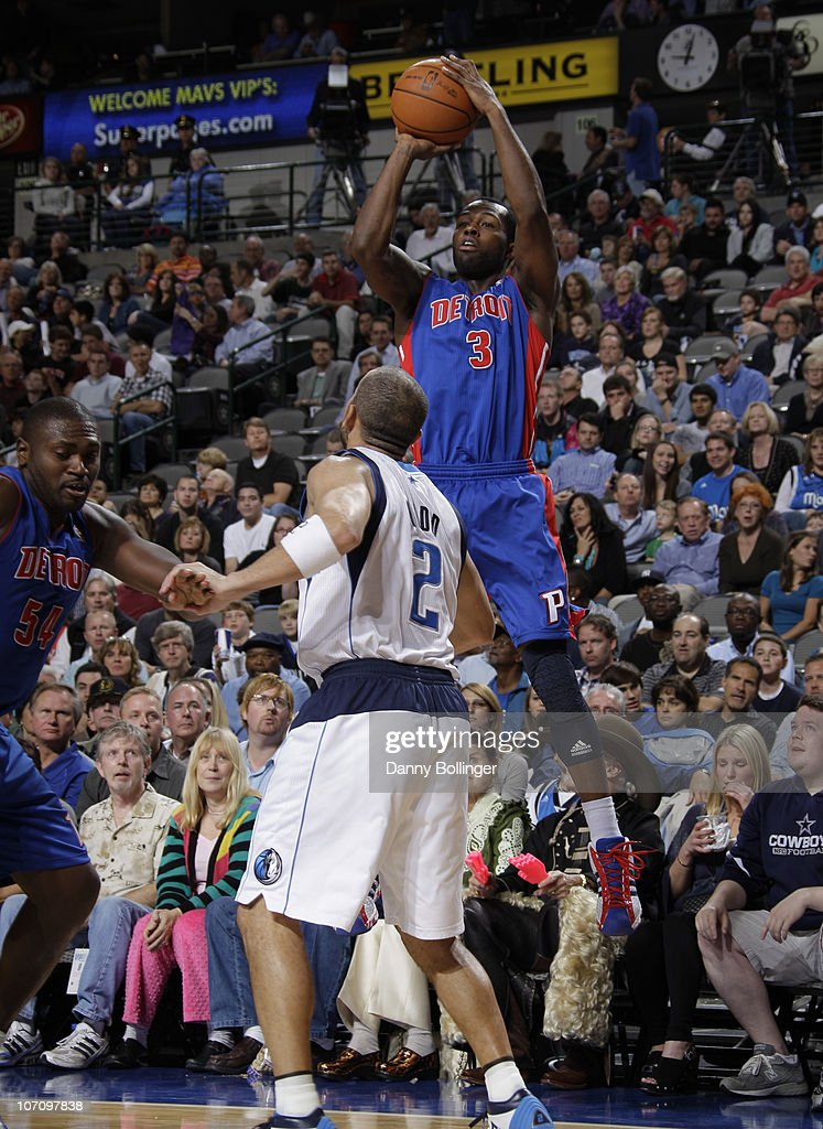 Rodney Stuckey #3 of the Detroit Pistons shoots a jumper against Jason Kidd #2 of the Dallas Mavericks during a game on November 23, 2010 at the American Airlines Center in Dallas, Texas.
