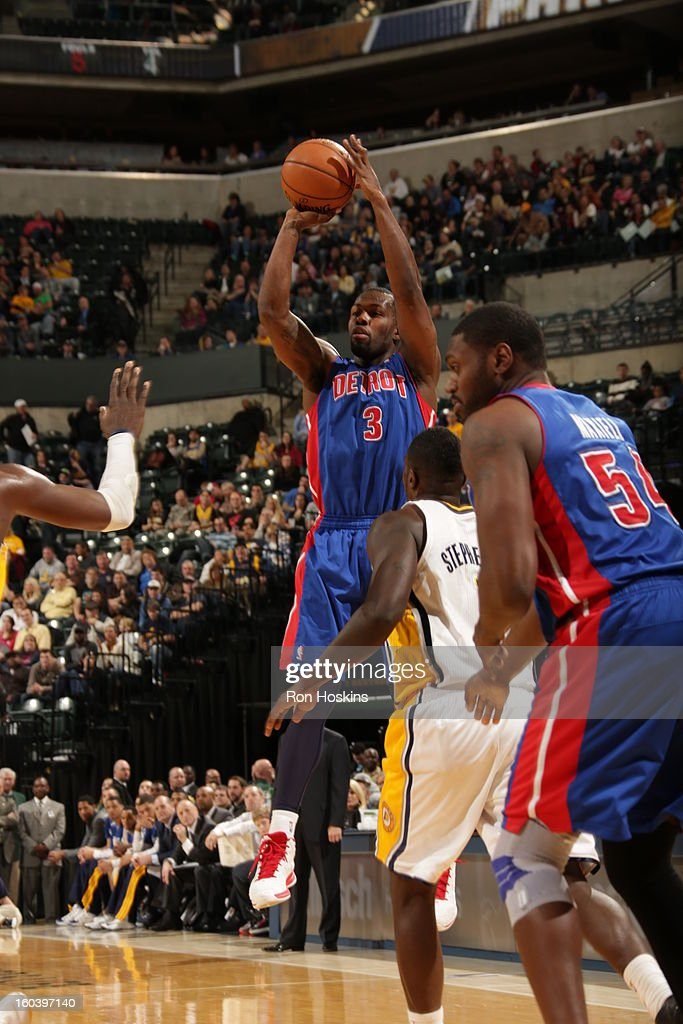 Rodney Stuckey #3 of the Detroit Pistons shoots a jumper against the Indiana Pacers on January 30, 2013 at Bankers Life Fieldhouse in Indianapolis, Indiana.