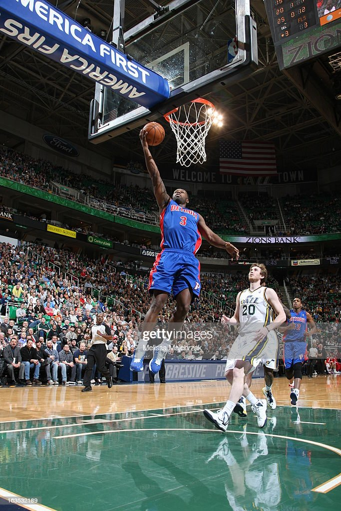 <a gi-track='captionPersonalityLinkClicked' href=/galleries/search?phrase=Rodney+Stuckey&family=editorial&specificpeople=4375687 ng-click='$event.stopPropagation()'>Rodney Stuckey</a> #3 of the Detroit Pistons shoots a layup against <a gi-track='captionPersonalityLinkClicked' href=/galleries/search?phrase=Gordon+Hayward&family=editorial&specificpeople=5767271 ng-click='$event.stopPropagation()'>Gordon Hayward</a> #20 of the Utah Jazz at Energy Solutions Arena on March 11, 2013 in Salt Lake City, Utah.