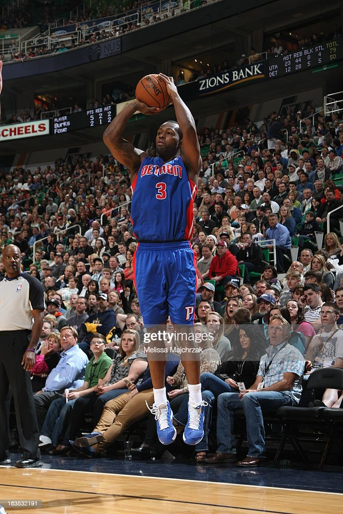 <a gi-track='captionPersonalityLinkClicked' href=/galleries/search?phrase=Rodney+Stuckey&family=editorial&specificpeople=4375687 ng-click='$event.stopPropagation()'>Rodney Stuckey</a> #3 of the Detroit Pistons shoots a three pointer against the Utah Jazz at Energy Solutions Arena on March 11, 2013 in Salt Lake City, Utah.