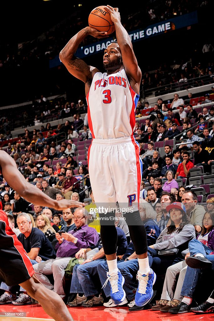 Rodney Stuckey #3 of the Detroit Pistons shoots a three-pointer against the Toronto Raptors on November 23, 2012 at The Palace of Auburn Hills in Auburn Hills, Michigan.