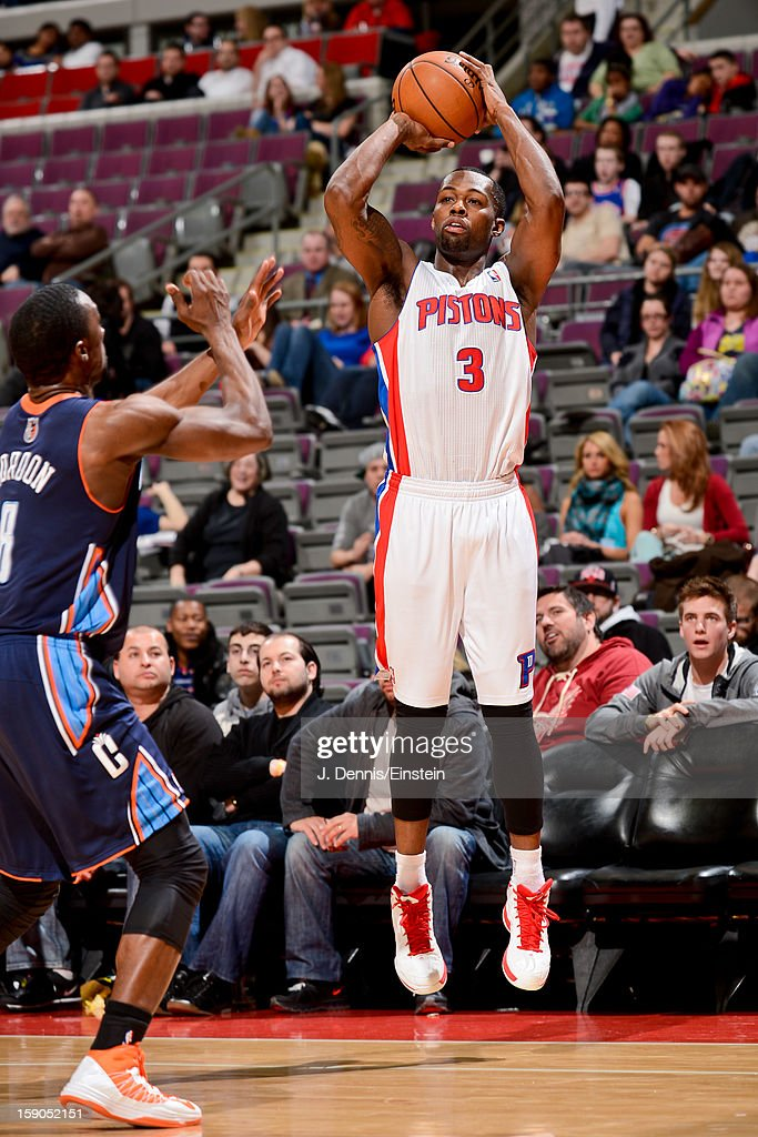 <a gi-track='captionPersonalityLinkClicked' href=/galleries/search?phrase=Rodney+Stuckey&family=editorial&specificpeople=4375687 ng-click='$event.stopPropagation()'>Rodney Stuckey</a> #3 of the Detroit Pistons shoots a three-pointer against <a gi-track='captionPersonalityLinkClicked' href=/galleries/search?phrase=Ben+Gordon&family=editorial&specificpeople=202181 ng-click='$event.stopPropagation()'>Ben Gordon</a> #8 of the Charlotte Bobcats on January 6, 2013 at The Palace of Auburn Hills in Auburn Hills, Michigan.