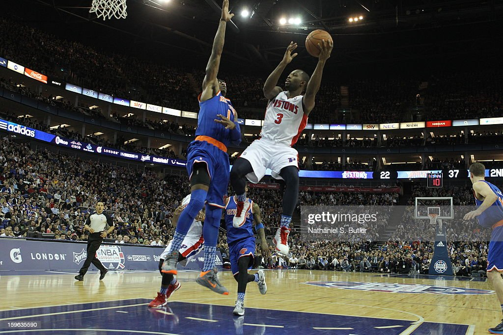 Rodney Stuckey #3 of the Detroit Pistons shoots against Amar'e Stoudemire #1 of New York Knicks during a game between the New York Knicks and the Detroit Pistons at the 02 Arena on January 17, 2013 in London, England.