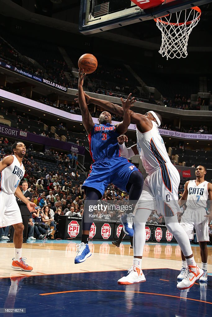 <a gi-track='captionPersonalityLinkClicked' href=/galleries/search?phrase=Rodney+Stuckey&family=editorial&specificpeople=4375687 ng-click='$event.stopPropagation()'>Rodney Stuckey</a> #3 of the Detroit Pistons shoots against <a gi-track='captionPersonalityLinkClicked' href=/galleries/search?phrase=Brendan+Haywood&family=editorial&specificpeople=202010 ng-click='$event.stopPropagation()'>Brendan Haywood</a> #33 of the Charlotte Bobcats at the Time Warner Cable Arena on February 20, 2013 in Charlotte, North Carolina.
